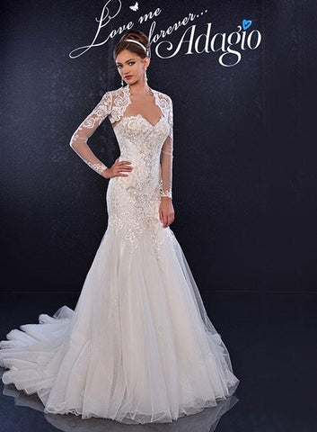 Adagio Bridal W9244 Ivory Size 16  Fabric: LACE/TULLE  Sweetheart neckline fitted lace wedding gown, with a fit and flare tulle skirt and a long train. Wedding Dress Bridal Gown