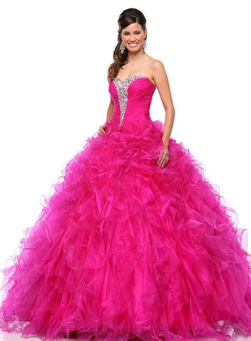 Envious Couture 2167 Quince Magenta Size 12 ballgown Crystal Ruffle Pink