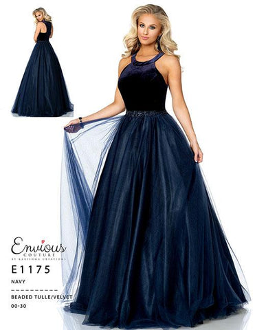 Envious Couture 1175 Navy Size 28 prom gown