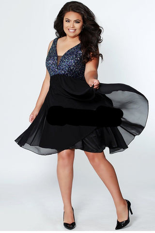 Sydneys Closet CE1820   V neckline heavy sequins bodice with a bra friendly top make this the perfect choice for your homecoming or special event.  The flowy chiffon skirt is knee length.
