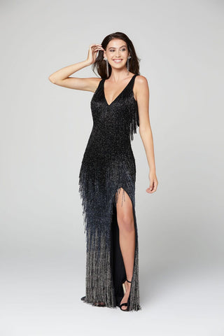 Primavera Couture 3407 V neckline and V back full fringe evening gown with ombre trim and a side slit.  Great prom dress or pageant gown.  black ombre still showing fringe flowing down from curves