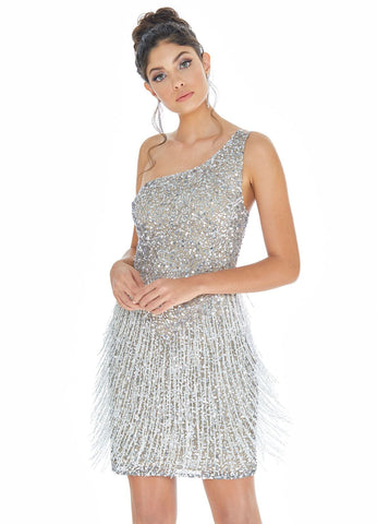 Ashley Lauren 4273 one shoulder beaded cocktail dress with fringe