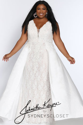 Johnathan Kayne for Sydneys Closet JK2016 Stingray halter neckline fitted lace plus size prom dress with flowy chiffon over skirt  Evening gown pageant gown  Available colors:  Ruby Red/Nude, Emerald Green/Nude, Onyx/Nude, Fuchsia/Fuchsia, Ivory/Nude  Available sizes:  14-24