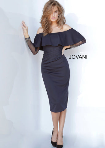 Jovani 1155 off the shoulder ruffle bodice long sheer embellished sleeves knee length cocktail dress  Available colors:  Black, Navy  Available sizes:  00-24