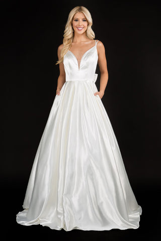Nina Canacci 6549 Satin bow in back long A line wedding dress bridal gown with plunging v neckline and spaghetti straps Color; Ivory  Sizes  8, 10, 12, 14, 16, 18, 20, 22, 24