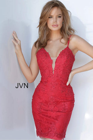 JVN Jovani 00395 Plunging neckline lace fitted cocktail dress homecoming dress