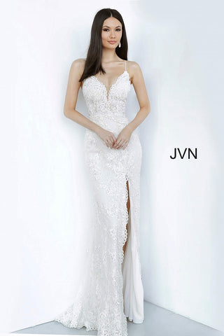 JVN00864 Ivory plunging v neckline embellished lace fitted evening gown prom dress with high side slit and scalloped eyelash lace hem sheer panels under the arms and spaghetti straps  with sheer lace V back