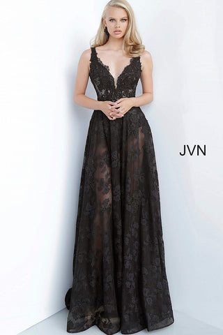 JVN00877 Black bodysuit with sheer maxi lace skirt overlay, sleeveless fitted embroidered bodice with plunging neckline and V shape back