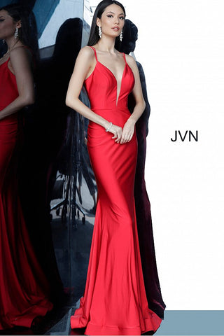 JVN00902 double spaghetti straps tie back long fitted mermaid prom dress evening gown