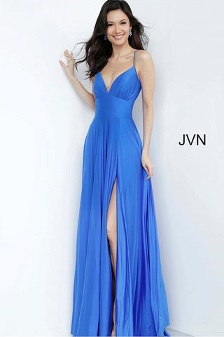 "JVN00903 Royal Blue Stretch ""bathing suit"" fabric, floor length maxi skirt with high slit, sleeveless high waist bodice with ruched bust, spaghetti straps over shoulders, plunging neckline, open lace up back."