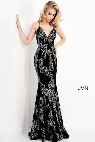 Jovani JVN00905 This JVN by Jovani JVN00905 black silver long dress features a fitted silhouette with a V-neckline, held with spaghetti straps that crisscross at the open back. This floral velvet prom gown exits with a sweep train. JVN by Jovani 00905 Prom Dress, Pageant Gown, Evening gown Available colors:  Black/Silver  Available sizes:  00, 0, 2, 4, 6, 8, 10, 12, 14, 16, 18, 20, 22, 24
