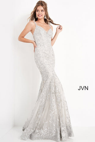 Jovani JVN00908 - JVN 00908 is a Long tight Fitted Lace Prom Dress. This gown features a Sweetheart neckline with embroidering along the bodice & straps cascading down the length of the gown. Embellished Floral embroidering over a Glitter shimmer Layer with a full flared skirt. This dress has such a classical Glam look!  Available Colors: burgundy, gold, rose, silver, sky-blue  Available Sizes: 00, 0, 2, 4, 6, 8, 10, 12, 14, 16, 18, 20, 22, 24