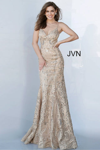 JVN by Jovani 00916 v neckline gold embroidered fitted evening gown
