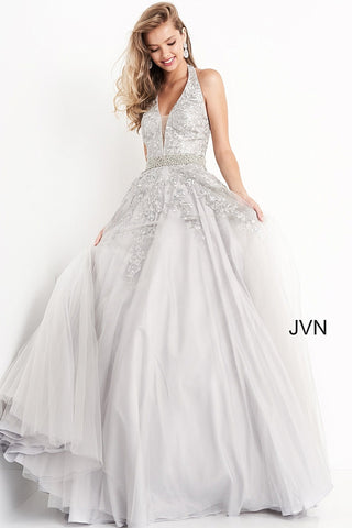 Jovani JVN00923 Long tulle A Line Prom Dress Ballgown. Plunging Deep V Neckline with a floral Lace embroidered bodice with embellishments cascading into the lush A Line skirt. Crystal rhinestone waist belt. Halter Neckline.  JVN by Jovani Prom Dress, Pageant Gown, Evening Gown.
