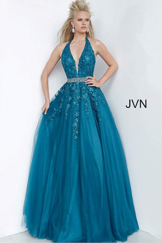 Jovani JVN 00923 Long Embellished Lace Ballgown Prom Dress Crystal Belt Halter Plunging