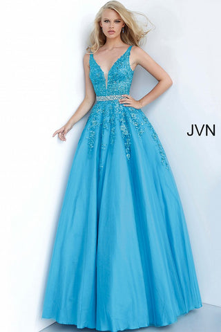 JVN00925 Turquoise Floral embroidered prom dress ballgown, crystal-embellished belt at waist, sleeveless bodice, deep V neck, V back evening gown