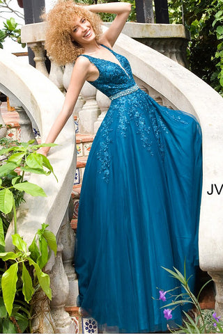 JVN00925 Teal Floral embroidered prom dress ballgown, crystal-embellished belt at waist, sleeveless bodice, deep V neck, V back evening gown
