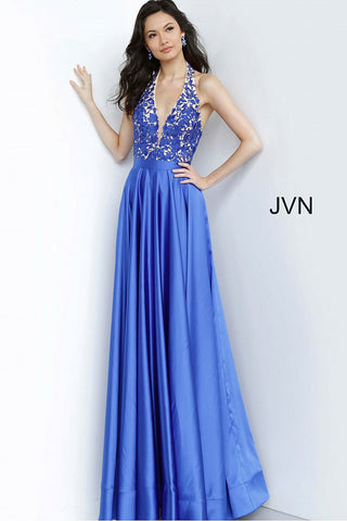 JVN Jovani 00927 lace deep v neckline satin skirt prom dress evening gown
