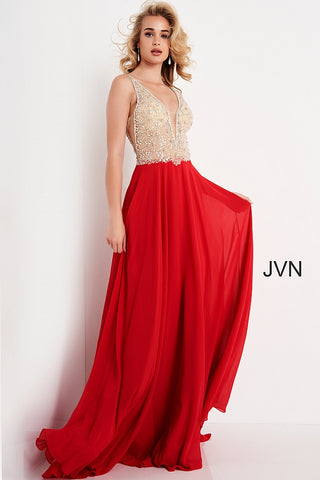 JVN00944 V neckline embellished bodice flowy chiffon a line prom dress evening gown informal wedding dress pageant gown