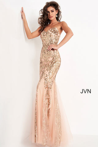 Jovani JVN00954 Is a Stunning Sequin Embellished Sweetheart Neckline Mermaid Silhouette Prom Dress. Detailed Tulle accents along the skirt are a nice touch on top of the Damask Print Sequin Bodice! Stunning! Evening Gown Pageant Formal Dress. JVN 00954 Sequin embellished prom dress, form fitting silhouette, godet bottom floor length skirt, strapless bodice with sweetheart neckline. Glass Slipper Formals