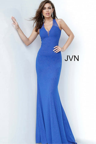 JVN Jovani 00963 stretchy v neckline fitted prom dress evening gown glitter dress