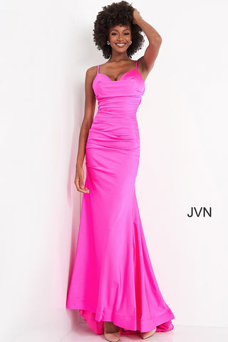 JVN00968 v neckline satin ruched fitted fit and flare evening gown prom dress bridesmaids dresses with sweeping train