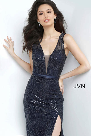 JVN Jovani 01012 Navy high slit plunging neckline prom dress evening gown