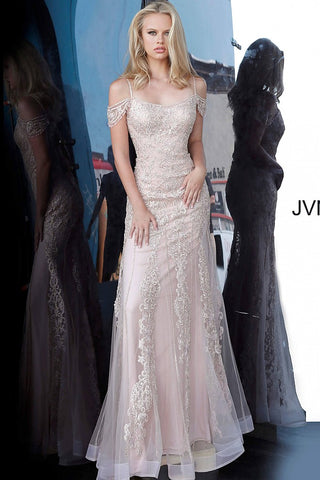 JVN by Jovani 02011 Long Off the Shoulder 2020 Prom Dress Embellished Embroidery Gown
