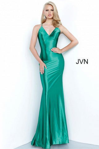 JVN02048 v neckline simple satin form fitted prom dress evening gown