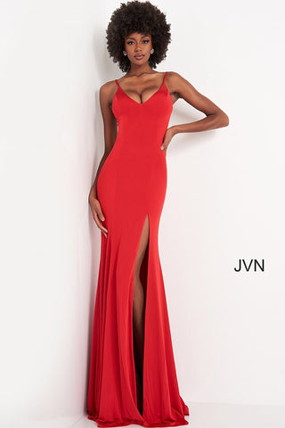 JVN02071 v neckline criss cross tie corset open back stretchy fitted prom dress evening gown bridesmaids dress with sweeping train