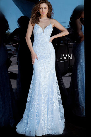 JVN02258 Light blue embroidered plunging neckline fit and flare mermaid prom dress evening gown bridesmaids dress