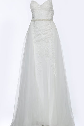 Jovani JVN02260 Size 18 Long Lace overskirt Wedding Dress Prom Gown Sheer