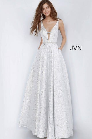 JVN 02263 is a full Metallic Brocade ball gown prom dress. featuring a deep plunging neckline with Embellished straps and waist belt. Open Back with Crystal Straps. Full Skirt has Pocket