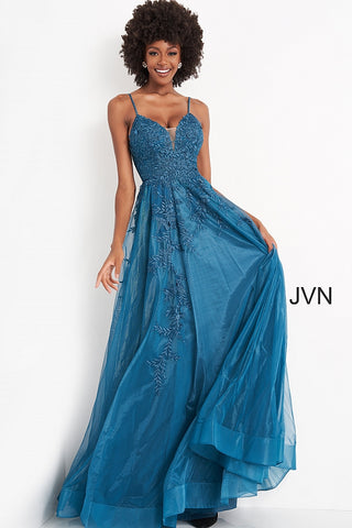 Jovani JVN02266 plunging v neckline embroidered lace A line prom dress, pageant gown evening dress with lace that flows down the long A line skirt.  JNV by Jovani 02266 Prom Dress, Evening Gown  Available colors:  Red, Teal, White  Available sizes:  00, 0, 2, 4, 6, 8, 10, 12, 14, 16, 18, 20, 22, 24