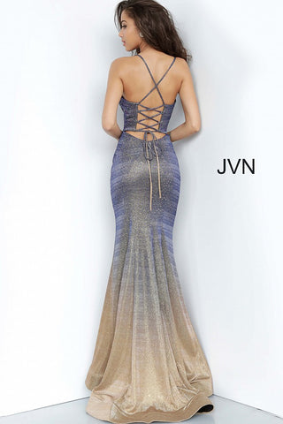 JVN by Jovani 02307 Long Fitted Iridescent Shimmer 2020 Prom Dress Purple Gold Mermaid