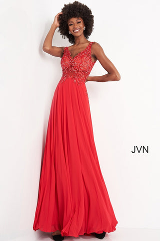 Jovani JVN 02308 is a long sheer bodice floral embellished Prom Dress with Embroidering cascading down into the flowing skirt. Open V Back.  Available Colors: blush, light-blue, navy, off-white, red  Available Sizes: 00-24