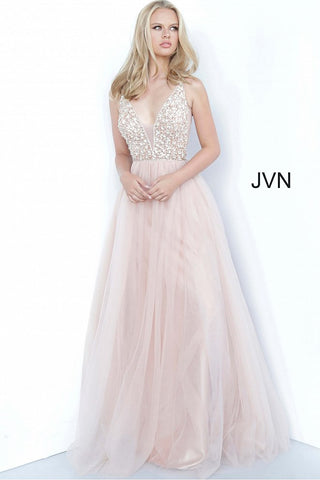 JVN02313 Plunging v neckline embellished bodice A line prom dress tulle ball gown evening gown