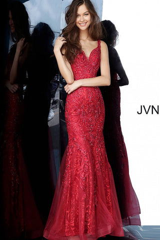 JVN02319 Wine sweetheart neckline with lace straps long fitted mermaid embellished lace prom dress evening gown