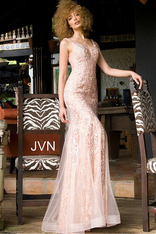Jovani JVN 02319 Size 6 Long Lace Prom Dress Mermaid Glitter Shimmer Pageant Gown