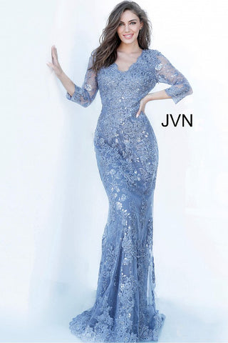 JVN 02321 Sheer embellished three quarter sleeves eyelash lace evening dress with v neckline that has scalloped hem and a full coverage back with sweeping train.