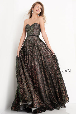 Jovani JVN02324 - JVN 02324 is a long A Line Ballgown prom dress. Strapless sweetheart neckline. Lush Metallic lace fabric with a black embellished waist belt. Corset lace up back closure. Horse hair trim in the lush ball gown skirt. great formal evening gown. Available Sizes: 00,0,2,4,6,8,10,12,14,16,18,20,22,24  Available Colors: Black, Ivory, Light Blue, Red