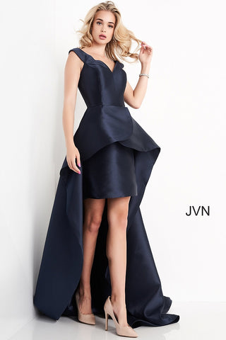 JVN02360 V neckline short dress with high low overskirt prom dress evening gown, pageant wear  Color Navy  Sizes:  00, 0, 2, 4, 6, 8, 10, 12, 14, 16, 18, 20, 22, 24   JVN by Jovani 02360