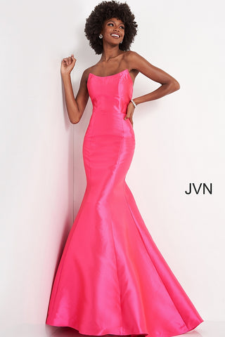 Jovani JVN02365 is a Gorgeous Long Fitted Mikado Formal Evening Gown. This Pageant Dress Features a Stunning mermaid silhouette with a trumpet skirt and sweeping train. This Pageant Ready Style Feature a strapless scoop peak neckline. This Gown stuns when paired with an OverSkirt! JVN 02365 Glass Slipper Formals