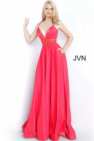 JVN02386 V neckline criss cross tie back A line prom dress pageant gown evening dress