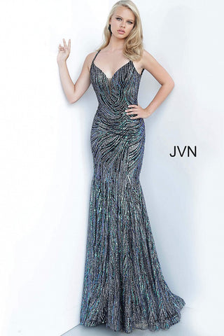 JVN02432 Black multi green and silver sequins Glitter embellished prom dress, form fitting silhouette, floor length skirt, sleeveless spaghetti strap bodice with plunging neckline, scoop back.