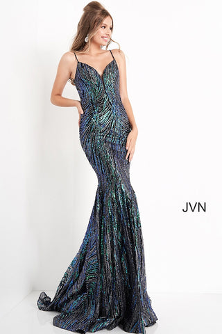 Jovani JVN02432 Long Mermaid Sequin Glitter Prom Dress Pageant Down V Neck Jovani JVN 02432 is a Long Fitted Prom Dress. Featuring Silver and Green Sequin & Glitter Embellished Fabric for a Dimensional Color Shine! Plunging Deep V Neckline with a sheer mesh panel. spaghetti straps. Slight Mermaid Silhouette Glitter embellished prom dress, form fitting silhouette, floor length skirt, sleeveless spaghetti strap bodice with plunging neckline, scoop back. . Glass Slipper Formals