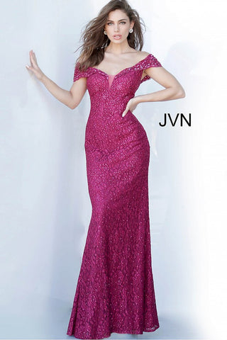 Jovani JVN02434 Off the shoulder embellished lace features a sweetheart neckline with sheer panel and lapel type off the shoulder cap style sleeve.  It is a fitted dress with embellishments throughout the lace.