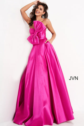 JVN02526 strapless sweetheart neckline bow on the bodice A line prom dress pageant gown evening dress  Colors  Fuchsia, Green, Light Blue, Red, Yellow  Sizes  00, 0, 2, 4, 6, 8, 10, 12, 14, 16, 18, 20, 22, 24  JVN by Jovani 02526