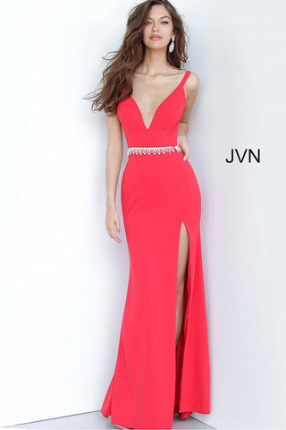 JVN by Jovani 02712 is a long Fitted Low Cut V neck Prom, Pageant & Formal evening wear dress. Long Fitted gown with an embellished tassel crystal waist belt. Open criss cross back.  Stunning classic gown. fitted bodice with slightly flared skirt featuring a slit.