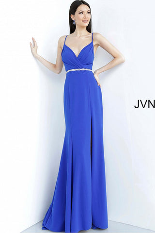 Jovani JVN 02713 Size 2 Long Crepe Embellished Belt Prom Dress V Neck Slit Train Fit Flare